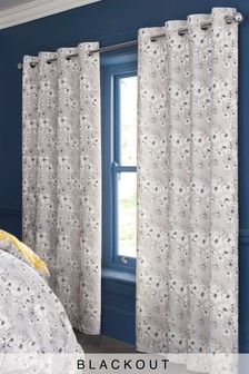 Grey Pansy Floral Blackout Eyelet Curtains