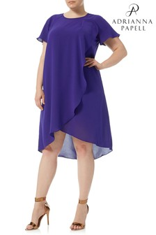 Adrianna Papell Purple Gauzy Crepe Dress