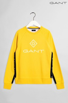 GANT Yellow Lock Up Stripe Crew Neck Sweater