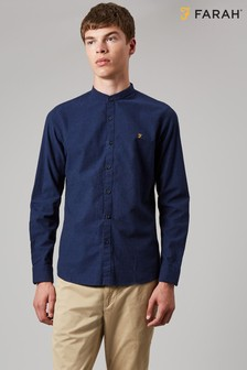 Farah Blue Steen Slim Long Sleeve Shirt