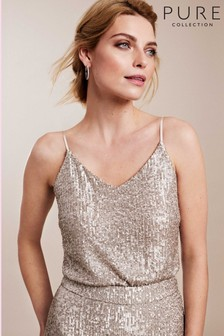 Pure Collection Gold Sequin Camisole