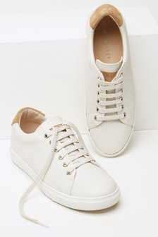 Mint Velvet Cream Allie Metallic Lace Trainer