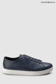 Emporio Armani Navy Leather Trainer