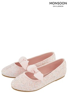 Monsoon Pale Pink Gemma Glitter Bow Ballerina