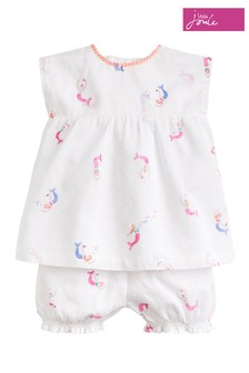 Joules White Edith Woven Top & Short Set