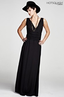 HotSquash Black V Cross Over Maxi Dress