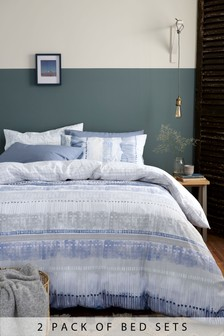 2 Pack Nautical Stripe Duvet Cover And Pillowcase Set