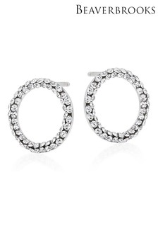 Beaverbrooks 9ct White Gold Crystal Circle Stud Earrings