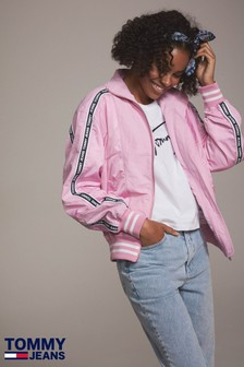 Tommy Jeans Pink Tape Bomber Jacket