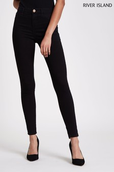 81aed694fc2a7 River Island Black Molly Mid Rise Jeans Regular Leg