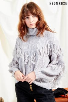 Neon Rose Grey Oversized Roll Neck Cable Knit With Tassels