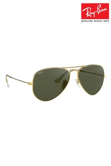 Ray-Ban® Gold Aviator Dark Green Lens Sunglasses