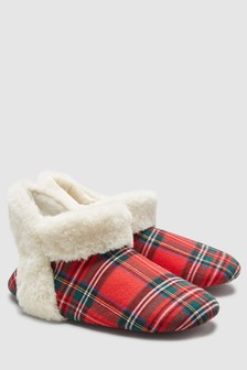 Faux Fur Detail Slipper Boots