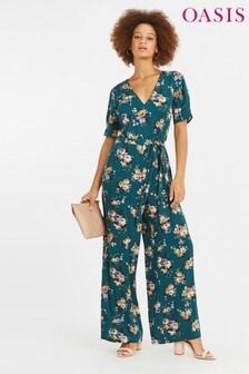 Oasis Green Rose Floral Jumpsuit