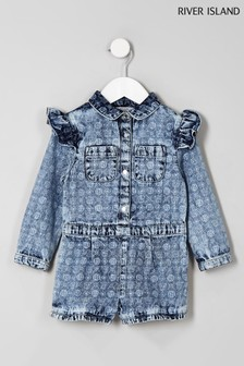 River Island Denim Washed Print Playsuit
