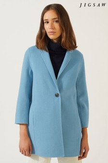 Jigsaw Blue Double Face One Button Coat