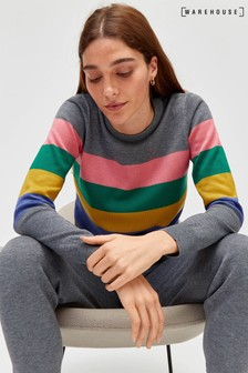 Warehouse Grey Placement Stripe Jumper