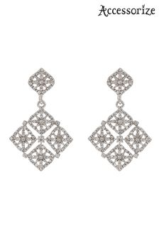 Accessorize Clear Filigree Sparkle Chandelier Earring