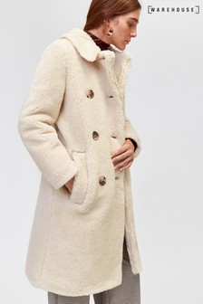 Warehouse Cream Long Teddy Bear Coat
