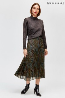 Warehouse Black Rainbow Foil Pleated Skirt