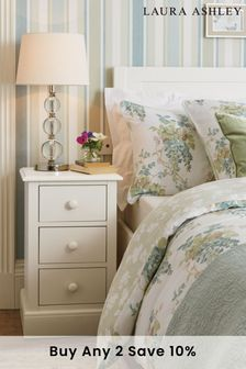 Ashwell Cotton White 3 Drawer Bedside Chest by Laura Ashley