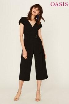 Oasis Black Belted V-Neck Jumpsuit