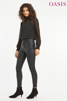 Oasis Black Lily Coated Trouser