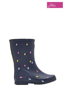 Joules Navy Raindrops Packaway Welly