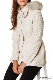 Karen Millen White Lightweight Padded Coat