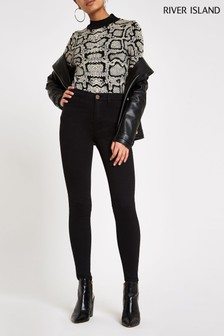 River Island Black Molly Mid Rise Jeans Long Leg