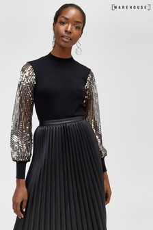Warehouse Black Sequin Sleeve Jumper