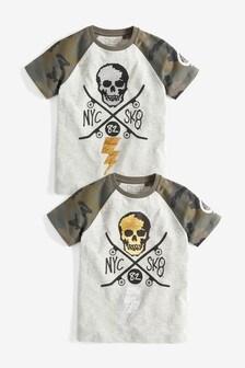 Camo Raglan Sequin Skull T-Shirt (3-16yrs)