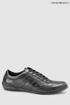 Emporio Armani Black Leather Formal Trainer