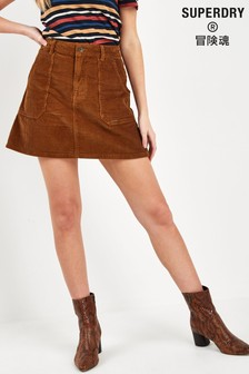 Superdry Brown Cord Skirt