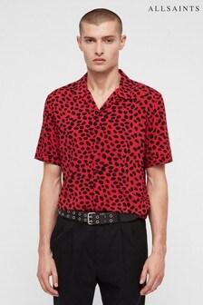 Chemise à pois AllSaints Piero rouge et noire