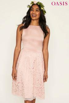 Oasis Pink Darcy Satin Bodice Lace Midi Dress