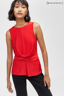 Warehouse Red Slinky Wrap Waist Top