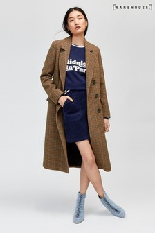 Warehouse Brown Full Length Check Coat