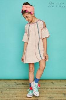 Outside The Lines Pink Cold Shoulder Embroidered Dress