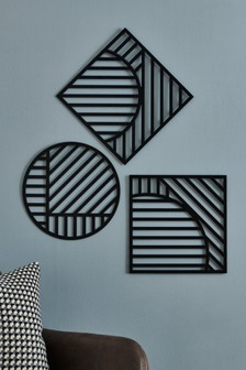 Set of 3 Geometric Wall Plaques