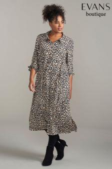 Evans Animal Shirt Midi Dress