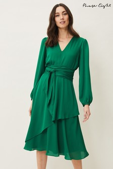 Phase Eight Green Imelda Frill Dress