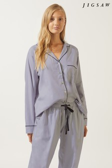 Jigsaw Pale Blue Molly Woven Pyjama Set