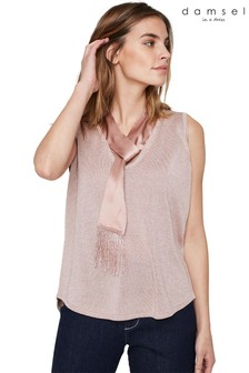 Damsel In A Dress Pink Audley Silk Tie Knited Top