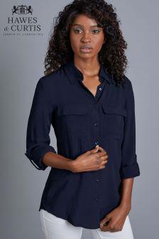 חולצה חלקה עם שני כיסים של Hawes & Curtis בצבע כחול כהה