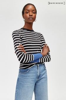 Warehouse Black Star Embroidered Stripe Jumper