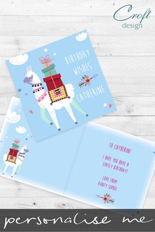 Personalised Llama Birthday Single Card by Croft Designs
