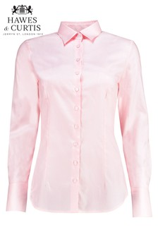 Hawes & Curtis Pink Plain Double Cuff Shirt