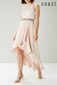 Coast Pink April Midi Embellished Belt Trim Dress