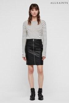 AllSaints Black Leather Effect Skirt